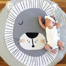 Cute Cartoon Animals Lion Face Quilted Play Mats Baby Blanket ... & Cute Cartoon Animals Lion Face Quilted Play Mats Baby Blanket Carpet Rug  Nordic Style Kids Bed Adamdwight.com