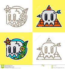 Mexican Style Graphic Design Cartoon Graphic Line Art Style Mexican Skull Vector Logo