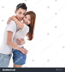 asian couples young couple hugging
