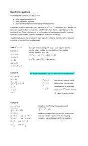 solving quadratic equations csec math