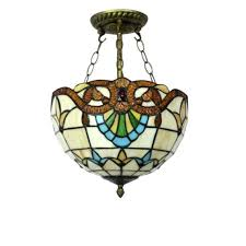 vintage style ceiling light bedroom stained glass pendant lamp small size fixtures full size