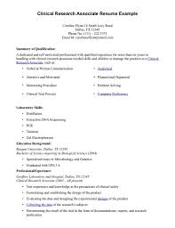 Clinical Research Coordinator Resume Sample Research Resume Sample