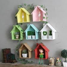 american country retro color small room bedroom door wall shelf wall hanging items decorative shelves