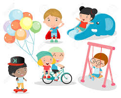 playing cartoon ccute children playing with toys in playground children in the