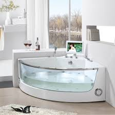 Glass Tubs Modern Corner Soaking Tub With Glass And Innovative Mini Tv