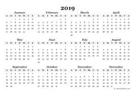 2019 Yearly Blank Calendar Template Free Printable Templates