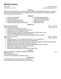 caregiver duties resume