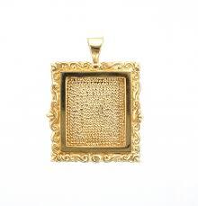 las 9ct gold rectangle engraved fl picture frame pendant