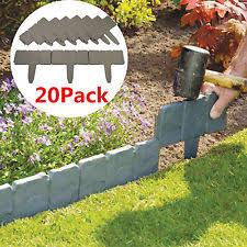 garden edging stone. 20 Grey Garden Edging Cobbled Stone Effect Plastic Plant Hammer-In Lawn Palisade