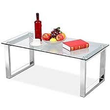Yaheetech Living Room Modern Glass Top Coffee Tables Metal Base Glass Side  End Table With Stainless