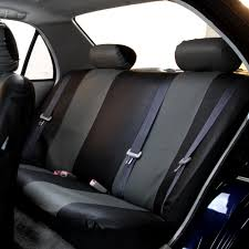 pu leather rear back seat covers set gray black for suv car minivan 0