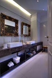 bathroom mirror ideas bathroom eclectic with cove lighting crown molding1