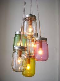 cottage mason jar chandelier. Pretty Pastels Mason Jar Chandelier Swag Light Hanging. Cottage