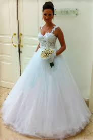 straps lace top puffy tulle wedding dress 2018 ball gown