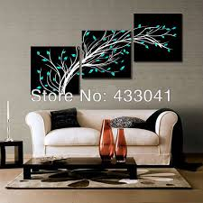 2013 new hand painted 3 piece set canvas modern wall deco oil painting abstract art flower black white blue no framed for sale in painting calligraphy  on black and white wall art sets with 2013 new hand painted 3 piece set canvas modern wall deco oil