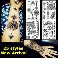 1 шт крупных индийских мехди черные чернила татуировки хной цветок