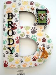 puppy dog wall letter single initial name plaque personalized dog gift dog lover wall art dog room decor pet lover wall art 3d letter