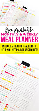 Monthly And Weekly Free Printable Meal Planner Printable Crush