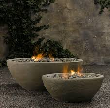 concrete outdoor fireplace river rock fire bowl from