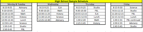 Sample Of Schedules Bell Schedules Parent Information Thrive Public Schools