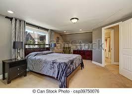 Interior Design Of Grey Tones Bedroom With Violet Bed   Csp39750076