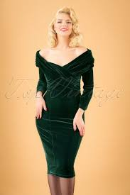 Collectif Clothing Hollie Velvet Green Wiggle Dress 16102