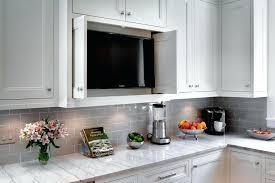 Gray Subway Tile Backsplash Best Grey With Dark Cabinets
