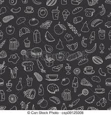 Different Food Doodles Seamless Background Lineart Hand Drawn Elements