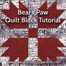 Bears Paw Quilt Block Pattern: Instructions in 3 Sizes &  Adamdwight.com