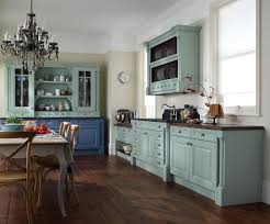 image of turquois painted kitchen cabinets ideas
