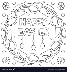 Happy Easter Coloring Page Wreath Royalty Free Vector Image