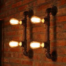 vintage 2 light water pipe shaped antique light fixture