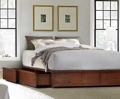 Gorgeous Queen Size Platform Bed With Drawers with Mahogany Storage