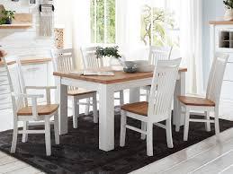 Esszimmer Sitzgruppe Novara Esstisch 160180 Cm 4 Stühle 2 Armlehner Pinie Nordica Weiß Wildeiche Ge