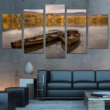 high quality wall art canvas painting 5 piece hd printed lake floating boat yellow forest sunset on sunset wall art canvas with high quality wall art canvas painting 5 piece hd printed lake