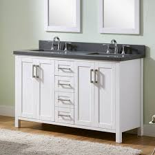 gray double sink bathroom vanity. infurniture white 60-inch double-sink bathroom vanity with grey quartz marble top gray double sink