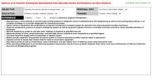 stationary engineer refrigeration resume - Stationary Engineer Resume