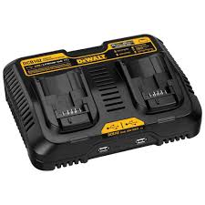 12 volt to 20 volt max lithium ion dual port jobsite fast charging station with 2 usb ports