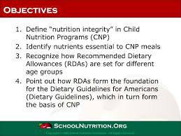 define nutrition integrity in child nutrition programs cnp