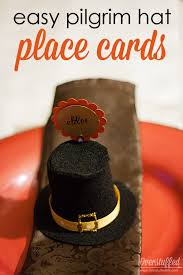easy pilgrim hat place cards for thanksgiving