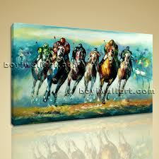large wall paintingsWall Art Famous Horse Racing Abstract Painting On Canvas Print Framed