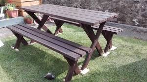 garden patio handmade furnitures set table and two benches wooden