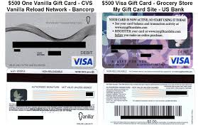 500 ovgc and vgc one vanilla gift cards