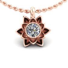 rose gold custom lotus pendant