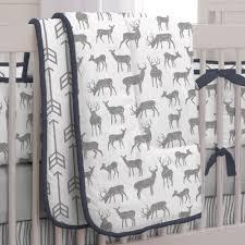 gray and navy deer crib bedding carousel designs