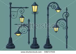 comic book lighting. Cartoon, Comic Book Vintage And Modern Street Lights Vector Set Lighting