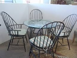 bernhart martha stewart signature collection four metal windsor style chairs along with a gl top iron base table dia 36