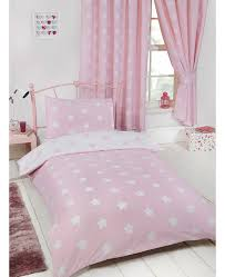 pink and white stars single duvet cover set bedroom