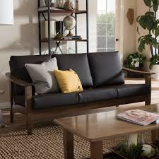 Walnut Living Room Furniture Baxton Studio Pierce Mid Century Modern Walnut Brown Wood And Dark