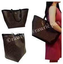 Coach New Signature Monogram C Logo Classic Canvas Leather Large Oversized  Carryall Shopper Handbag Purse Laptop ...
